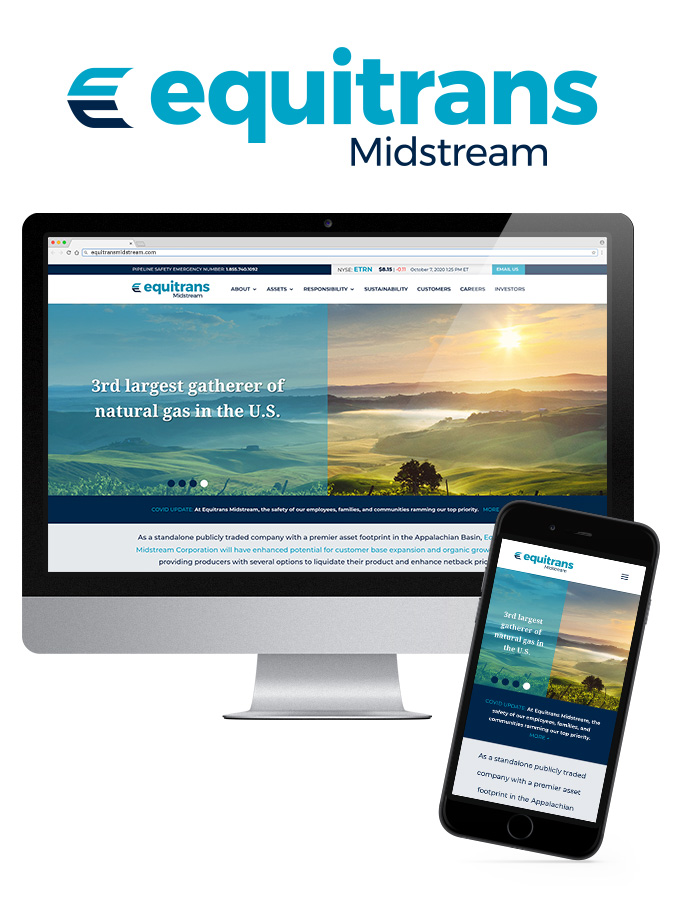 Equitrans Midstream Website Desktop and Mobile