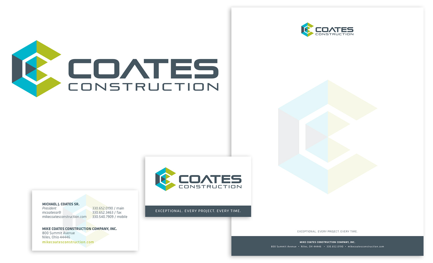 Coates Construction Logo, Business Card and Letterhead